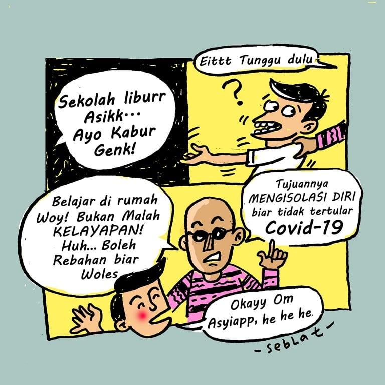 Komik Siswa Belajar di Rumah